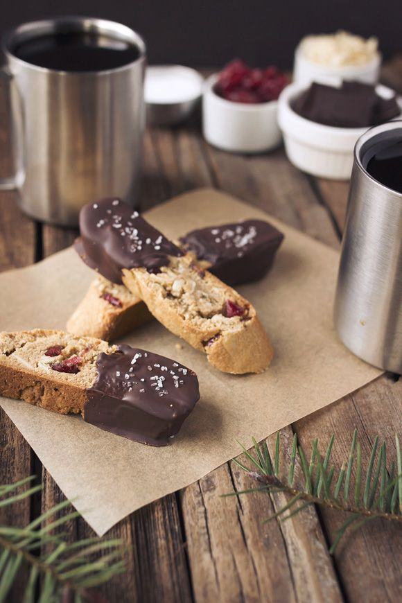 Gluten + Grain-Free Dark Chocolate Dipped Almond Cranberry Biscotti
