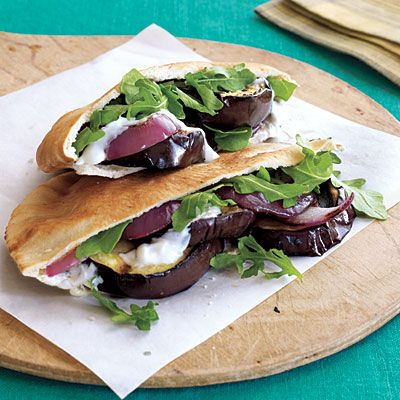Grilled Eggplant Pita Sandwiches with Yogurt-Garlic Spread | CookingLight.com