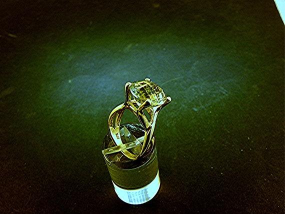 12mm 4.65 carat Checkerboard cut Round Green Amethyst set in 14K Yellow gold - ELKE- ring 0416