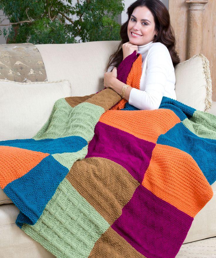 Sampler Block Throw Free Knitting Pattern from Red Heart Yarns