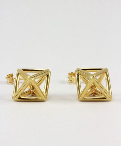 Gold Hollow Octahedron Dangling Earrings. $ 22.00