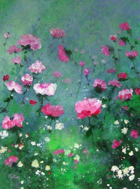 Roses 01 - Peinture,  46x61 cm ©2012 par Coq rouge -                            Art figuratif, Tableau de roses rouges sur fond vert