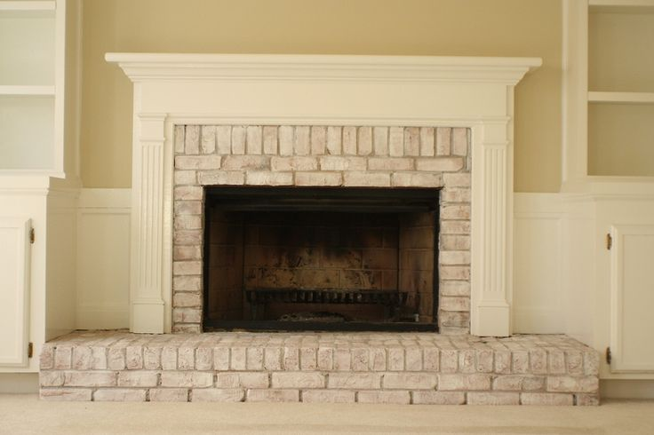 Whitewashed Brick Fireplace A Simple Mix Of Latex Paint About 1 2 Water 1 2 Paint Maybe More
