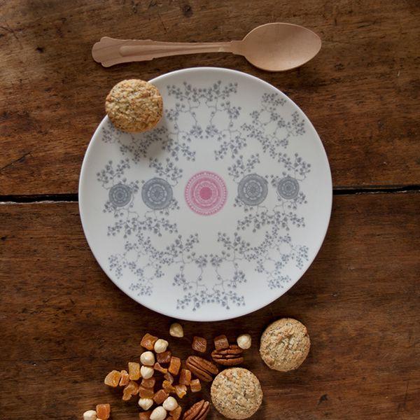 Plato de postre de porcelana rosace
