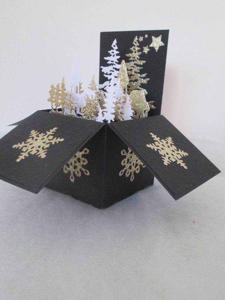 Carte boite pop up à explosion pour un Noël doré : Cartes par les-petits-papiers-de-marie