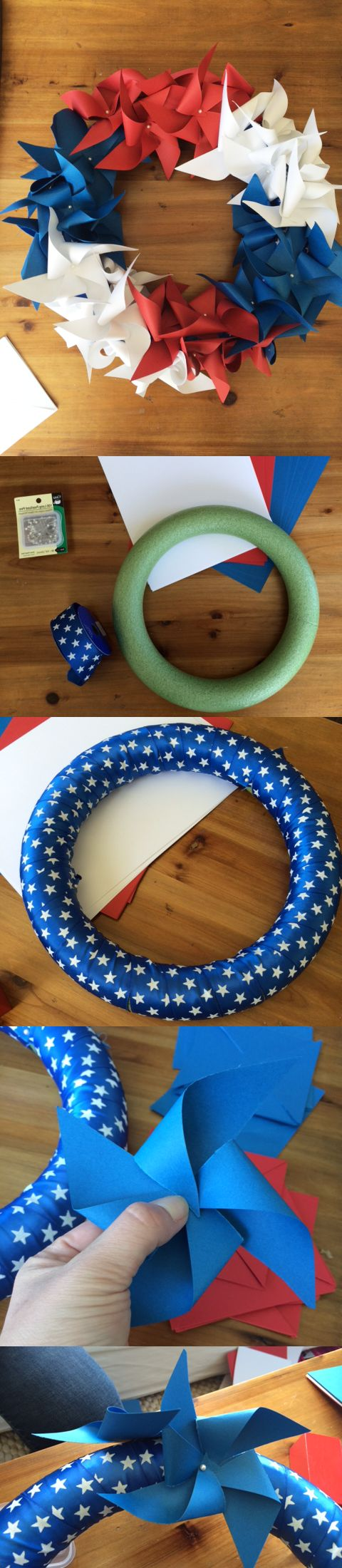 DIY July 4th Pinwheel Wreath | Money Saving Sisters