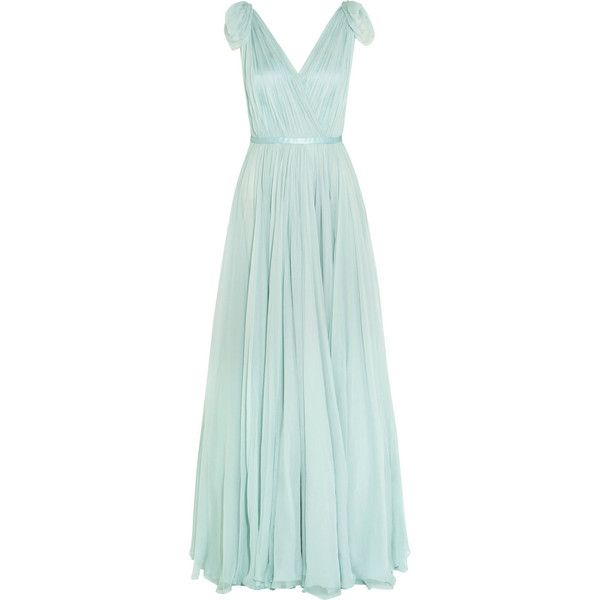 Alexander McQueen Gathered silk-chiffon gown (£4,395) ❤ liked on Polyvore featuring dresses, gowns, alexander mcqueen gowns, structured dress, metallic evening dresses, green dress and green evening dress