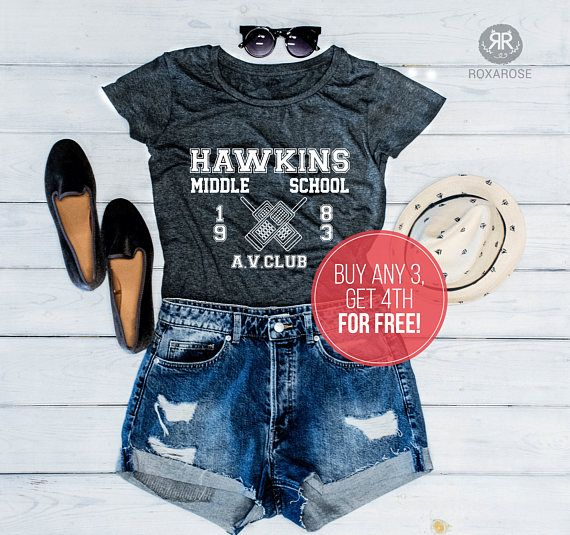 BUY ANY 3 AND GET 4TH FOR FREE! COUPON CODE: 4FOR3ROXA ITEM TITLE Hawkins AV Club Shirt, Hawkins Middle School Shirt, Hawkins Middle School AV Club Shirt, Hawkins School T-shirt, AV Club Shirt ……………………………………………………………………………………………… STYLE • Modern, Women fit • Very soft touch and feel •