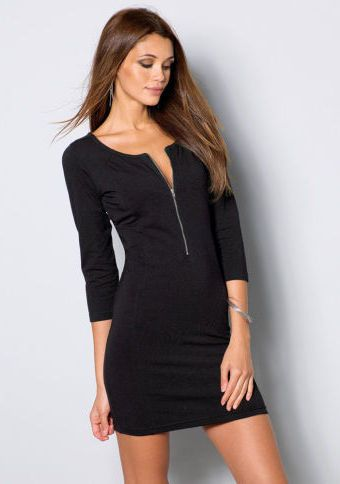 Šaty se zipovým výstřihem #ModinoCZ #fashion #dress #elegance #black #littleblackdress #saty #moda #cerna #klasika