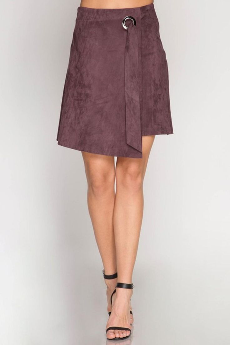 Faux suede asymmetrical midi wrap skirt with eyelet detail. Faux Suede Skirt  by She + Sky. Clothing - Skirts - A-line Clothing - Skirts - Suede New York