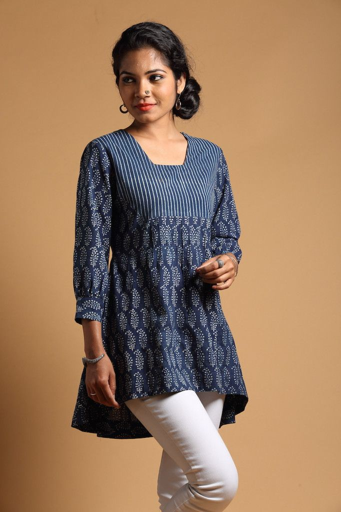 Indigo Pintucked Tunic