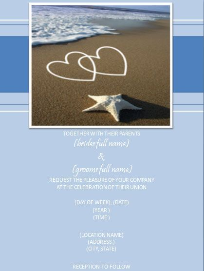 Wedding Invitation Templates | Hearts on the Beach Wedding Invitation Template