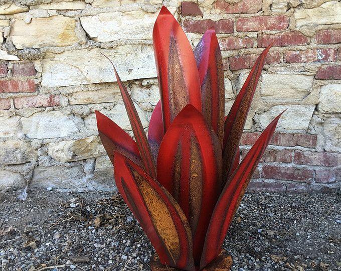 Agave Promenade,Sculpture,metal art,yard art,garden art,rustic decor,southwestern decor,metal sculpture,agave,metal cactus,desert decor,art