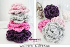 Connys Cottage: Tutorial for crochetflowers. In German-use google translate.