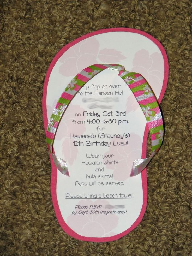 Cute and easy flip flop invitations for beach themed party: Flop Invitations, Luau Birthday Invitations, Luau Invitations, Parties, Luau Party Invitations, Partyideas, Party Ideas
