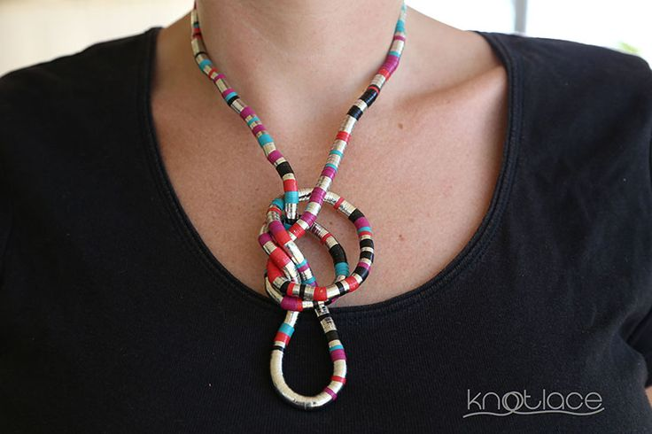 Original Knotlace or bendy necklace – Pink multi-coloured - http://www.knotlace.com.au/ #style #fashion #accessory #jewellery #pinkaccessory