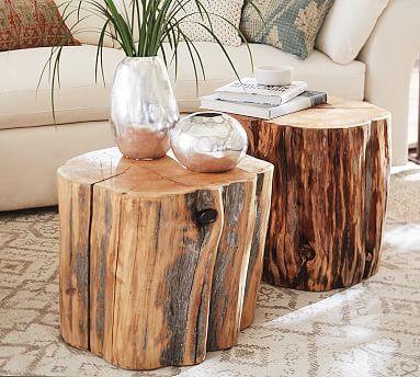 Reclaimed Wood Stump Table #potterybarn