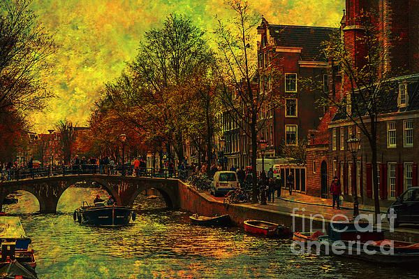 I AMsterdam. Vintage Amsterdam in Golden Light by Jenny Rainbow. #FineArt #AmsterdamPrint #Amsterdam #Holland #Dutch #Chanel #Canvas Netherlands #Boats City #AmsterdamFineArt #PrintSale #WallArt #Golden #JennyRainbowFineArtPhotography