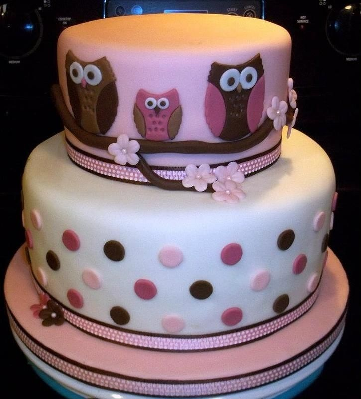 Pink and brown owl bay shower cake for Sara's baby shower