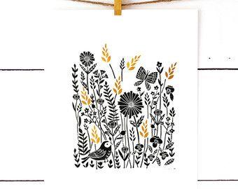 Linosnede afdrukken afdrukken van de natuur, natuur kunst, Lino Print, Linoleum Print, Scandinavische kunst, zwarte kunst, monochroom kwekerij, Floral afdrukken veld Art