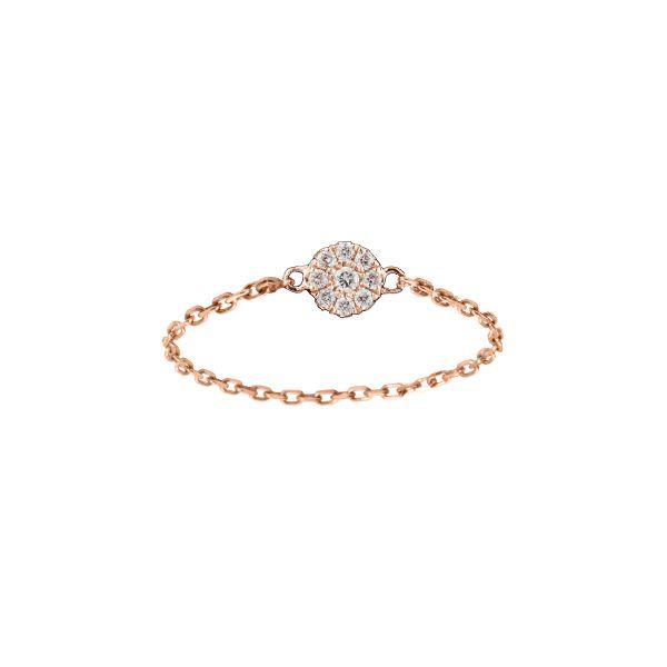 Bague Chaîne Mini Cible Or et Diamants - Djula