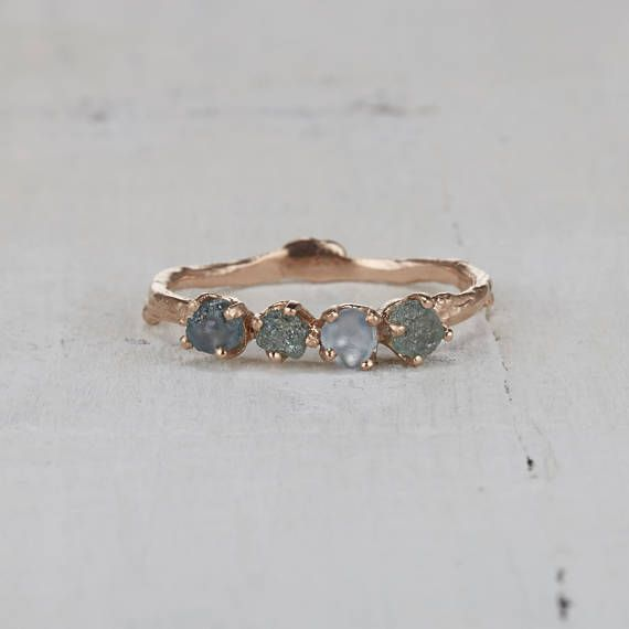 Twig Engagement Ring  Montana Sapphire Ring in Yellow Gold