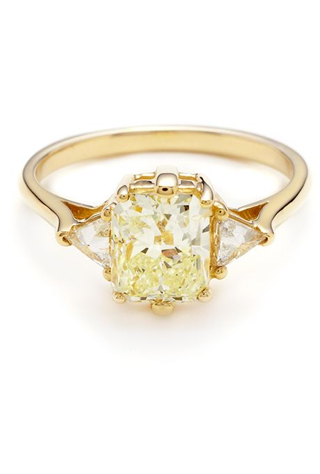 """Brides.com: . """"Bea"""" 1.70 carat light yellow color radiant cut diamond center 1.98ctw set in 14kt yellow gold, price upon request, Anna Sheffield"""