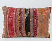 16x24 kilim pillow lumbar decorative throw pillow striped pillow sham garden pillow case ethnic cushion cover large pillow cover coral 25047