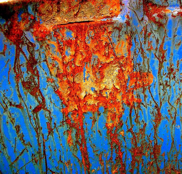 Rust on a blue drum 1 by tanakawho, via Flickr