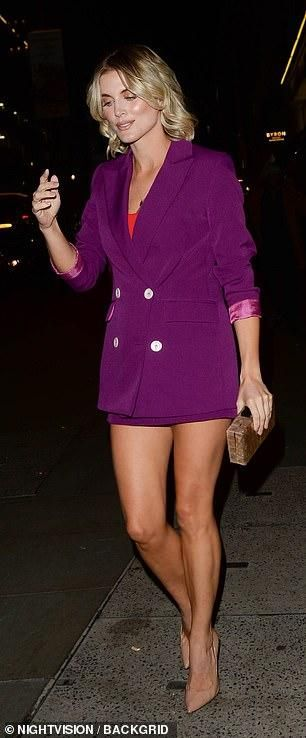 65e8147a9330 Ashley James shows off her envy-inducing bronzed legs in a purple blazer  dress for glamorous cafe launch