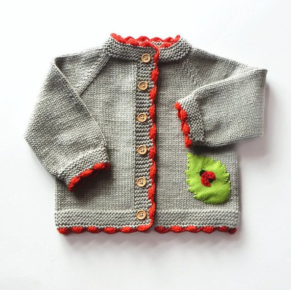 Ladybug baby sweater knitted baby spring jacket grey by Tuttolv