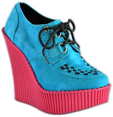 T-U-K-SUEDE-Interlace-Pink-CREEPERS-Ankle-WEDGES-Schuhe-Rockabilly