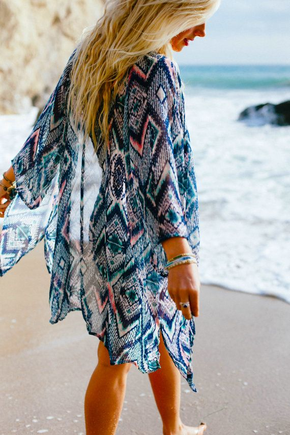 Multi Color Kimono Boho beach Cover up by Lotusandlunashop on Etsy