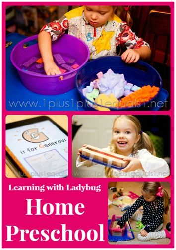 #Preschool at Home ~ Learning with Ladybug from @{1plus1plus1} Carisa: Homeschool Preschool Idea, Home Preschool, Homeschooling Preschool, Homes Preschool, Preschool January, Preschool At Homes, Aubry Preschool, Daycare Preschool, Preschool Curriculum