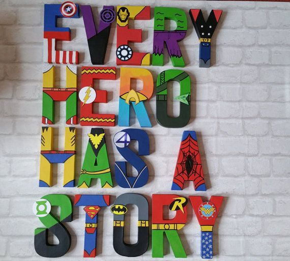 Letras de superhéroe. Papier Mache Letras pintados a mano personalizado. Nombre de superhéroe. Dormitorio de los niños. HECHO A LA MEDIDA. 1-9 letras