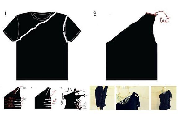 Hacer una blusa con playera reciclada | manualidades-moda ...