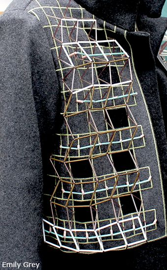 Jacket with 3D embellishment for graphic beaded textures; innovative textiles; geometric fashion detail // Emily Grey