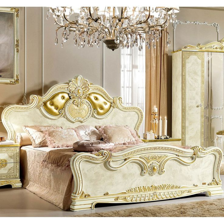 Leonardo Traditional Panel Bed in Ivory and Gold by ESF