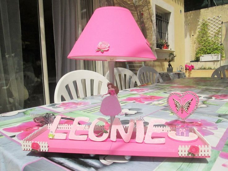 lampe de chevet rose pour enfant personnalisable th me. Black Bedroom Furniture Sets. Home Design Ideas