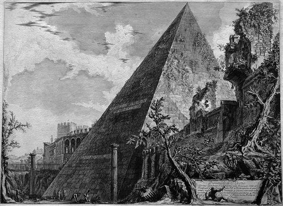 Piramide di C. Cestio, Piranesi, 1760-78, Los Caprichos, acquaforte