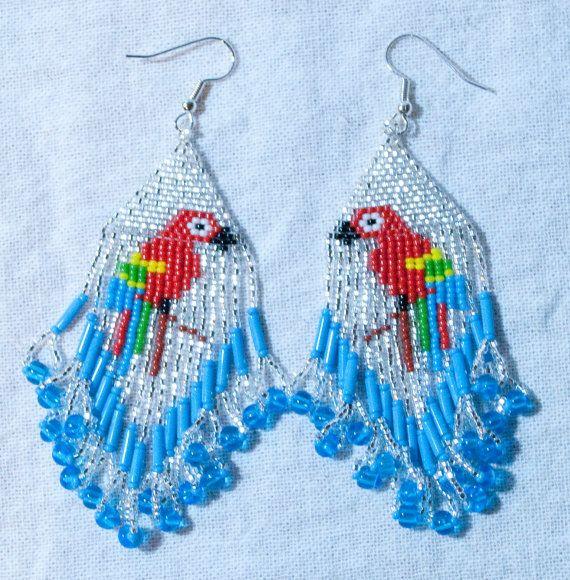 Amérindien Brick Stitch perroquet boucles par WoodenIndianCrafts