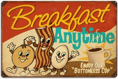 """""""Breakfast Anytime"""" large retro tin sign from RetroPlanet.com."""