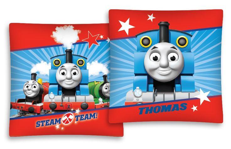 Červeno modrý povlak na dětský polštář s vláčkem Thomasem