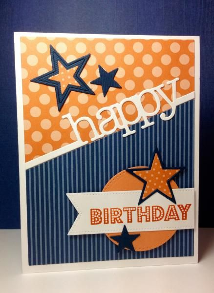 hand crafted birthday card ... Blueprints 18: MFT, by beesmom ... orange and blue ... die cuts create crisp lines ...