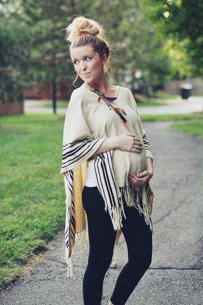 love the high bun and draped wrap - Maternity Fashion