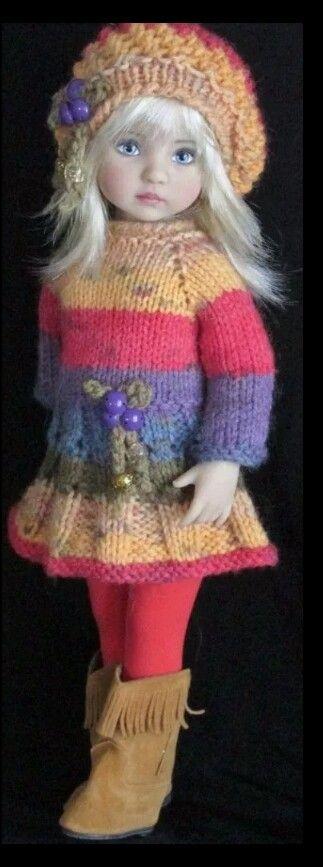 Handknit dress set made for Effner little darling dolls.
