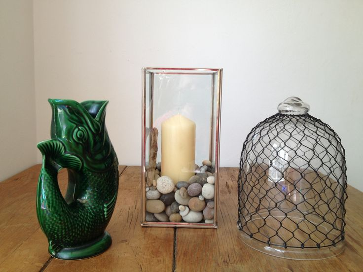 Guggle jug, candle holder and cloche from B's Yard.com