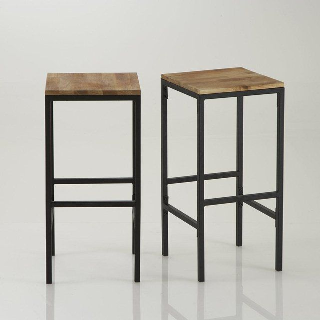 tabouret de bar haut forme carr e hiba lot de 2 bureaux bar et tables. Black Bedroom Furniture Sets. Home Design Ideas