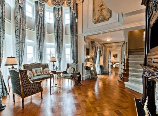 Celine Dion's $29M Private Island Montreal Estate - Living Room #home