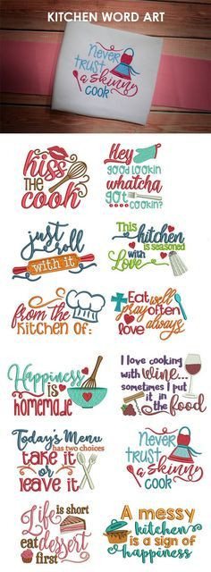 Kitchen Word Art, Designs By JuJu Machine Embroidery Store View